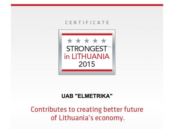 Sertifikatas strongest 2015
